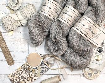Hand dyed yarn ,merino silk yak yarn, dk yarn,  Danielle, Polished Ash