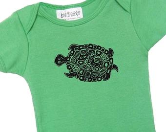 Green turtle baby onesie Cotton American Apparel one-piece bodysuit