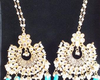 Blue Droplet Bridal Wedding Kundan Earrings