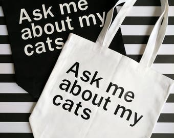 Funny Tote Bag // Cat Tote Bag + Cat Canvas Bag + Cat Lover Gift + Cat Bags + Pet Lover + Crazy Cat Lady Gift + Cats Tote Gift for her + Cat