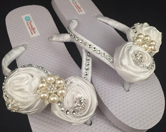 Satin Rolled Roses Bridal Flip Flops Custom Flip Flops Dancing Shoes Bridal Sandals Rose Rhinestone Wedding Flip Flops Beach Wedding Shoes