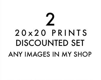 set of 2 20x20 prints, choose your own, photography print set, discounted set, custom art, Los Angeles artwork, Myan Soffia, 20x20 wall art