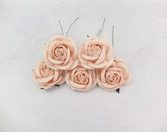 5 pcs - 50mm/2 inches peach blush paper roses with wire stems