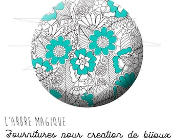 Cabochon fancy 25 mm flower drawing turquoise grey ref 1596 ref 1495