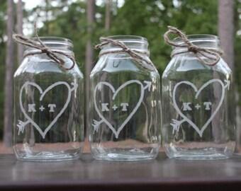 18 Engraved Mason Jars, Wedding Center Pieces, Wedding Vases, Personalized Vases, Personalized Mason Jar Mugs, Wedding Keepsake