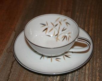 Noritake China 5513 Broen Black Leaves Bamboo Tea Cup and Saucer - Vintage China-Vintage Tea Cup and Saucer