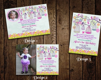 Birds and Birdcages 1st Birthday Party Invitation - Printable DIY