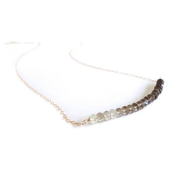 Ombre Smokey Quartz Bar Necklace