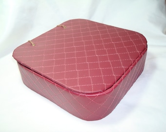 1950s Burgundy Quilted Lingerie Stockings Box.