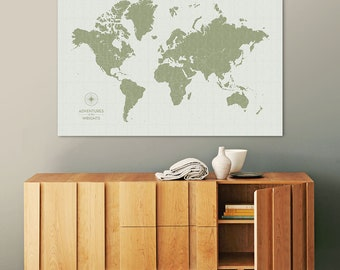 Push Pin Map of the World to Track your Travels, Personalized, Map Pins, Custom Color, Large Canvas Modern Wall Art, Gift, Vintage Moss