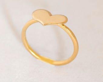 Gold Heart Ring, 14k Gold Heart Ring, Heart ring, 14k Gold Love Ring, 14k Promise Ring, 14k Love Ring, 14k Gold Heart Promise Ring