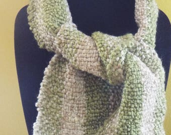 Hand Woven Tan and Green Striped Scarf