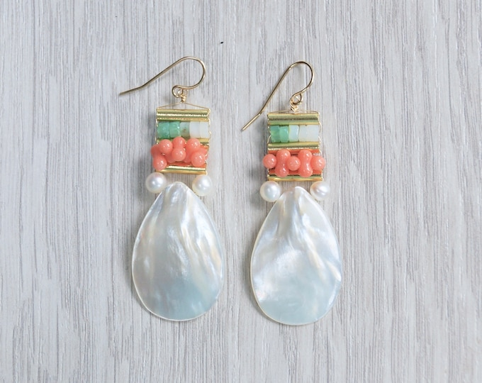 Coral and opal boho earrings - mother of pearl