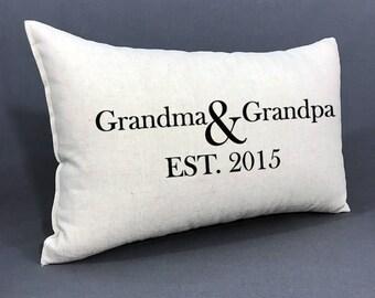 Personalized Grandparent Pillow, Established Grandparent Date, Grandma and Grandpa Gift, Personalized Pillow, Grandmother, Grandfather Gift