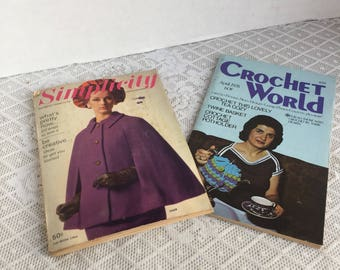 Crochet World and Simplicity Magazines / Vintage Arts and Crafts Magazines with Patterns 1964 and 1978
