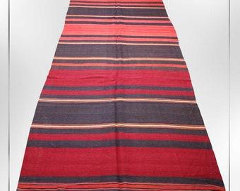 4x12 Runner Rug,Striped Pattern hand knotted Kilim Rug,Turkish Carpet,Oriental Vintage 1980s hand made Red and Black Rug 4.5'x12',SKU 1728
