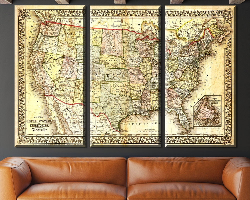 Lovely Usa Map Wall Art Contemporary - The Wall Art Decorations ...
