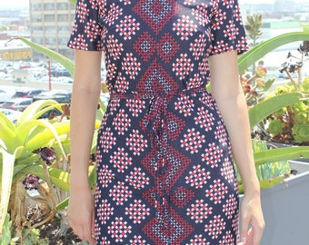 VTG 60's Dress Groovy Giometric Print Navy/Red Size Small