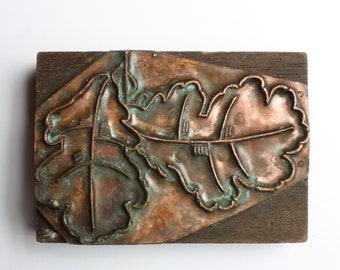 1903-1953 Antique Copper Letterpress Cut Printing Block OAK Leaves Leaf Tree Autumn