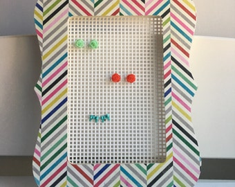 Jewlery Organizer, Rainbow Striped Picture Frame Earring Holder