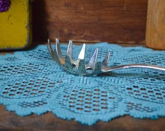 Vintage Silver Intricate Serving Pasta Spoon Server Metal Utensil Wedding Decor