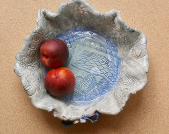 Blue ceramic fruit bowl, Handmade stoneware salad bowl, Pottery serving dish with lace pattern, blue centre piece, rustic home decor