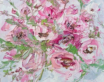 Flower Oil Painting Canvas Pink Oil Painting Pink Flower Oil Palette Knife Peony Rose Painting Impasto Rose Canvas Art Original Dusky Pink