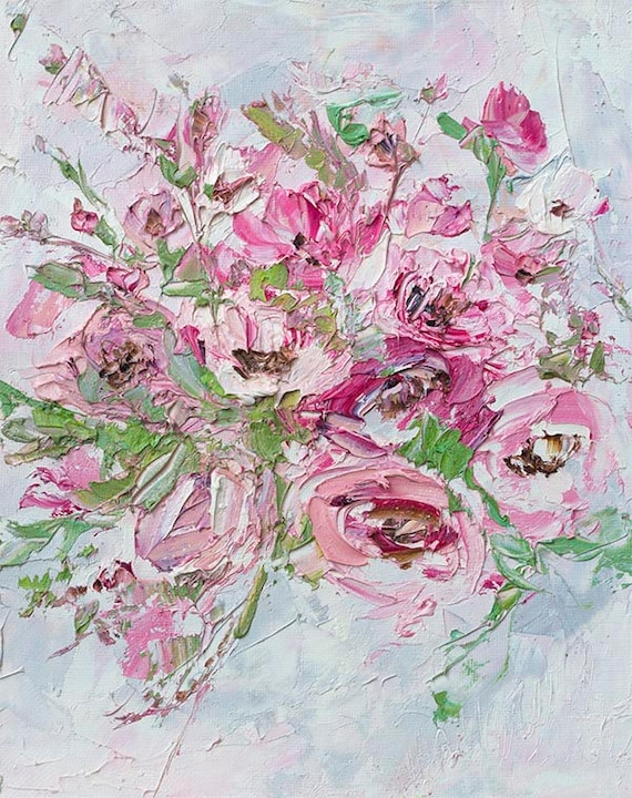 Flower oil painting canvas pink oil painting pink flower oil mightylinksfo