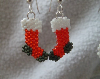 Brick Stitched Delica Bead Earrings Stockings