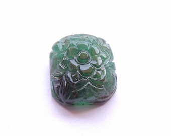 Natural Genuine Zambian Emerald Carving 16x14x8 MM Carving Fancy Shape 14 Carat