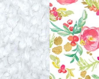 Pink Winter Floral Blanket, Minky Baby Blanket, Floral Baby Blanket, Pink Baby Blanket, Newborn Blanket, Winter Floral Baby Cloud Blanket