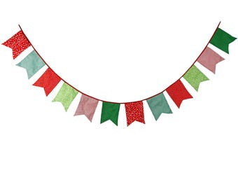 Christmas Decoration 12 flags Xmas Bunting Party Decoration Photo Prop Cotton Fabric Garland Vintage Room Decor