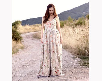 Embroidered Tulle Dress, Floral Dress, Beige Pink White Maxi Dress, Floral Gown