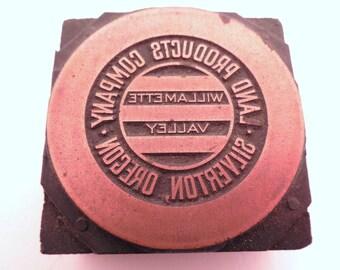 "Vintage Copper Land Products Company, Silverton, Oregon Logo Printers Block 1-7/8"" Tall x 1-7/8"" Wide"