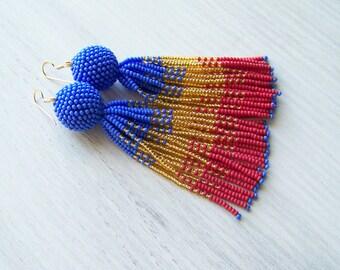 Beaded ombre tassel earrings - Luxury fringe earrings - long tassle beadwork earrings - Statement red, gold and blue seed beads earrings