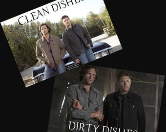 Supernatural Dishwasher Magnet   Winchester Brothers   Sam and Dean   Clean Dirty Magnet