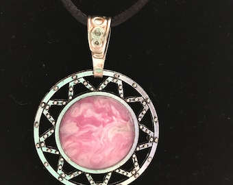 One of a kind, Orginial, Acrylic Inlay, Handcraft, Jewelry Design, Abstract Art, Pendant, Necklace, Wearable Art, Gift