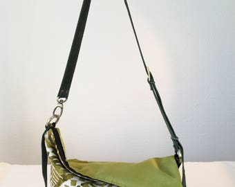 Women's messenger bag, woman's handbag, shoulder bag, woman's handbag, stamped fabric bag, stamped shoulder strap, green shoulder strap,