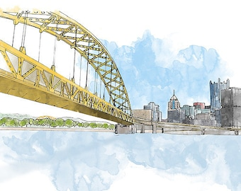 Fort Pitt Bridge and Downtown Pittsburgh - Ink and Watercolor Drawing