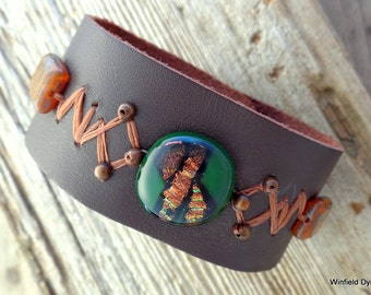 The Road Less Traveled Beaded Leather Cuff