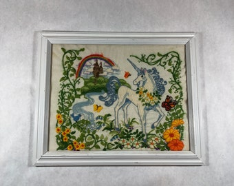 Vintage 80s The Last Unicorn Crewel Embroidery Fantasy Art NOW 20% OFF!