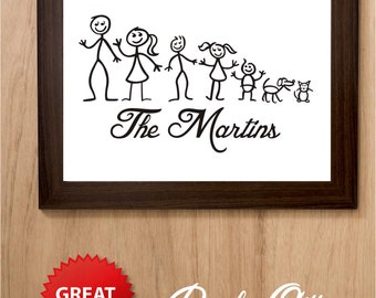 Personalised family stick people print