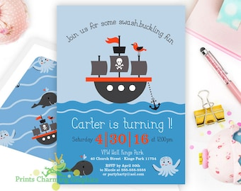Pirate Ship Party Invite • Sailboat • Sea Creature • Print Yourself