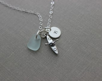 Sterling Silver Kayak Charm Necklace - Genuine Sea Glass - Personalized Initial Disc - Paddler, Watersports, Hawaii Outdoors - gift for her