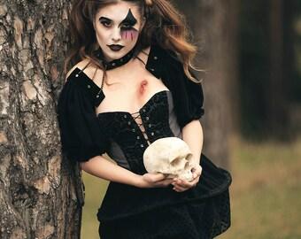 Dark corset dress with crinoline