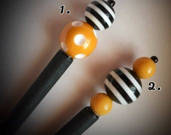 Mustard Yellow, Black,White Striped Polka Dot Hair Stick