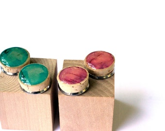 Turquoise Cork Earrings, Fuschia Post Earrings, YOUR CHOICE, Recycled Wine Corks, Cork Jewelry, Eco Friendly, Minimalist, Eco Fashion, Bold