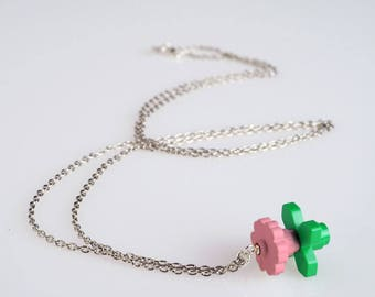 """Lego Flower necklace, pink baby - Collection """"Djouland"""""""