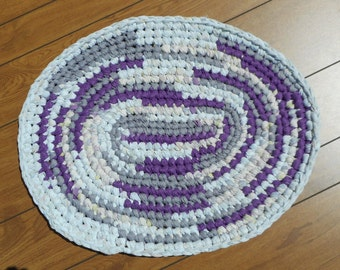 Purple, white, and lavender oval shaped Crocheted Rag Rug