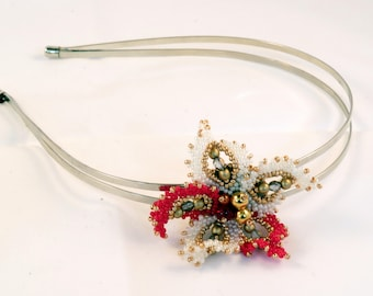 Poinsettia Flowers Bead Woven hair band, silver double hoop,  reds, whites, gold, beading, head band